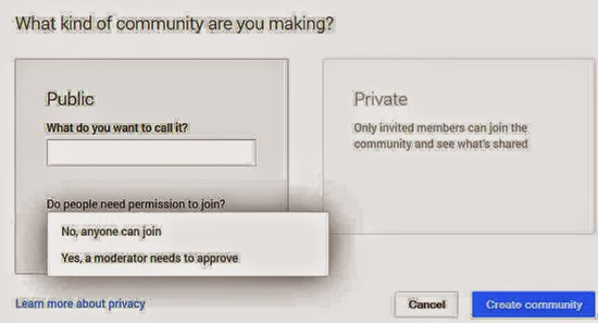 Private Community or Public Community - Google+