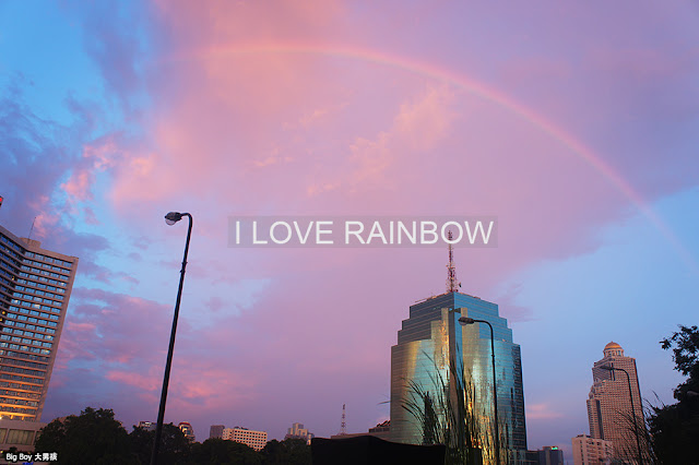 rainbow & sunset in Bangkok