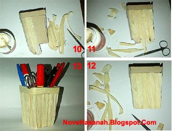 cara membuat prakarya dari kulit jagung dan kardus bekas berupa tempat pensil yang unik