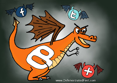 The legendary dragon Bloggogg (Blogger) and his minions Facebook, Twitter and AddThis