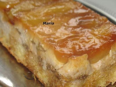 Bizcoflan con manzanas caramelizadas y nueces