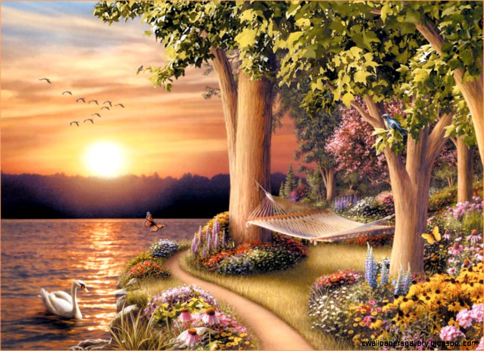 Visual Nature Oil painting Art Wallpaper   Frames Collection