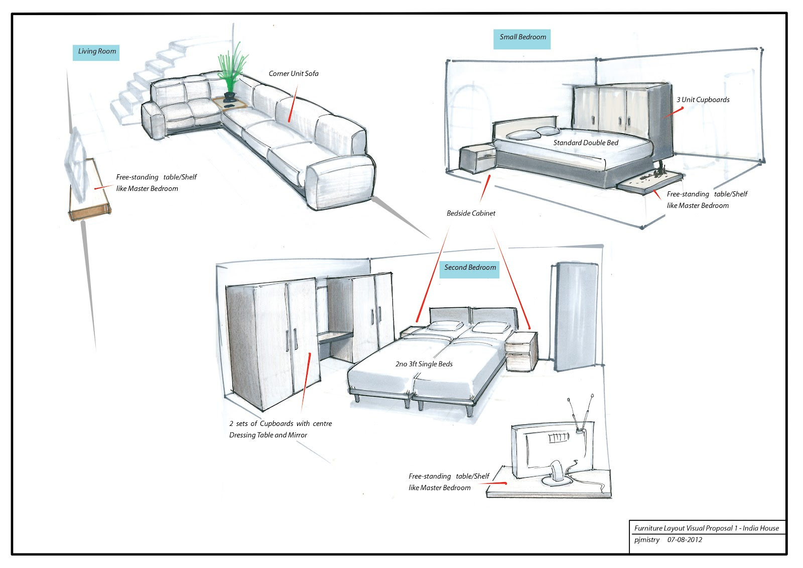 Furniture Design Sketch : Furniture Layout Visuals for New Family Home in India, Navsari