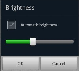 samsung galaxy S2 increase and decrease display screen brightness