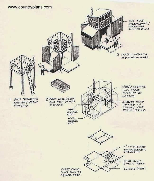 Dibujos técnicos de cabaña sujeta con bulones