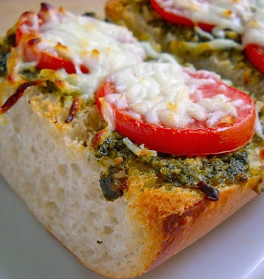 oven baked pesto cheese toast