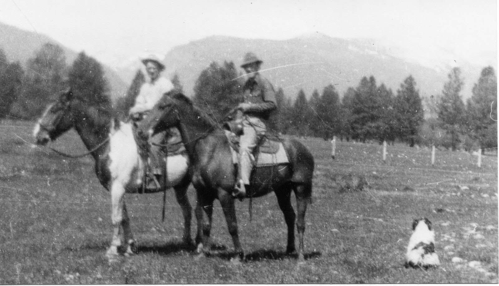 1949 My Dad and Grandfather @ Fort Owen Ranch, Stevensville, Montana http://www.jinglejanglejungle.net/2014/12/cowboy-songs.html