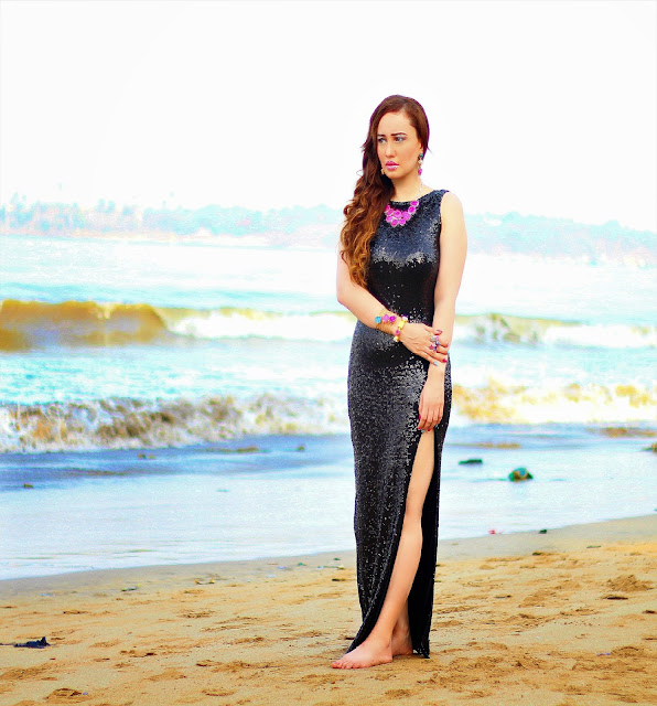 Black Sequin Gown with thigh-high slit, Semi-Precious Jewelry, Silvette
