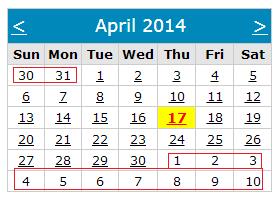 Asp.net calendar control