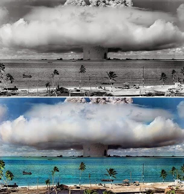 Testes nucleares no Atol de Bikini- manipulação digital - Sanna Dullaway