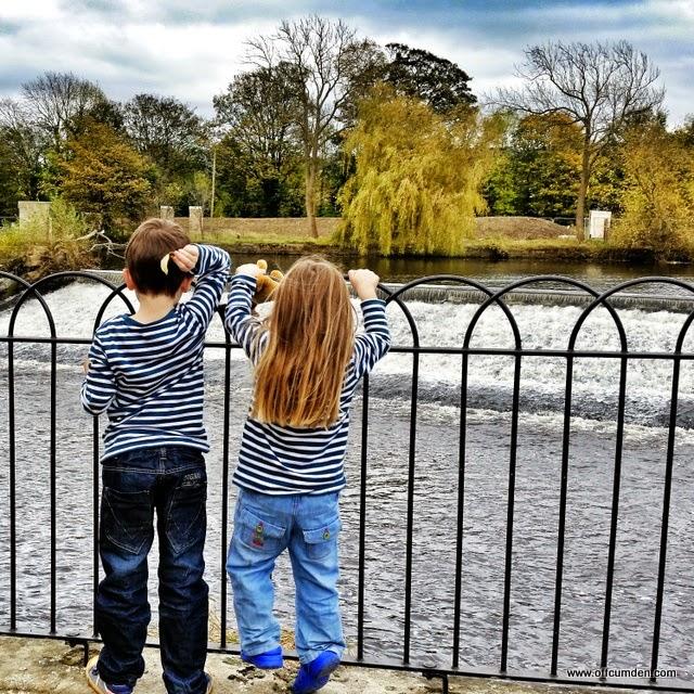 Children watching river