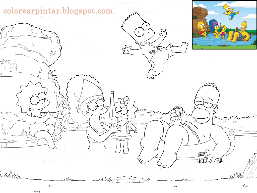 Colorear Pintar: Dibujo Los Simpson Para Pintar