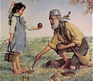 cute picture of John Chapman (Johnny Appleseed) and a little girl