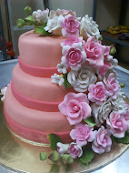 3 Tier Fondant stacked Wedding Cake