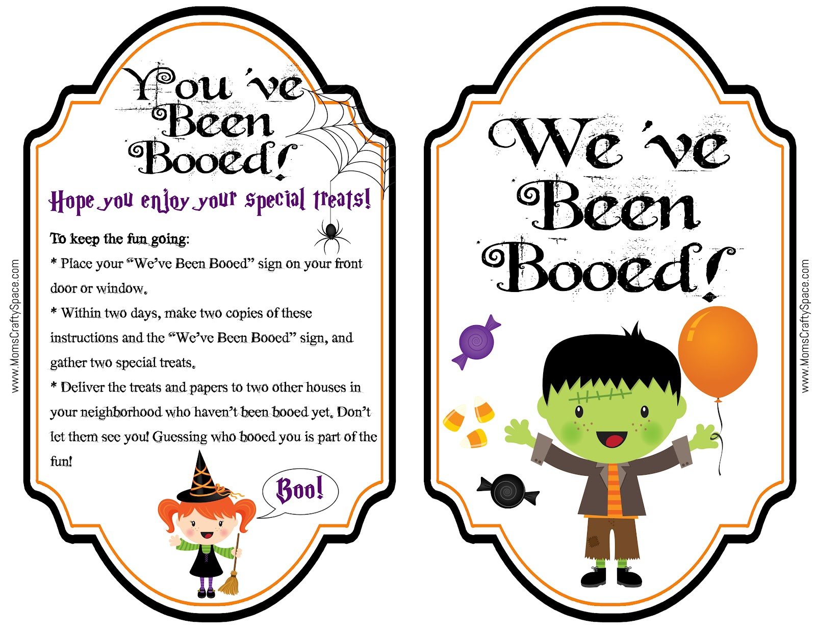 Sweet image within we've been booed printable