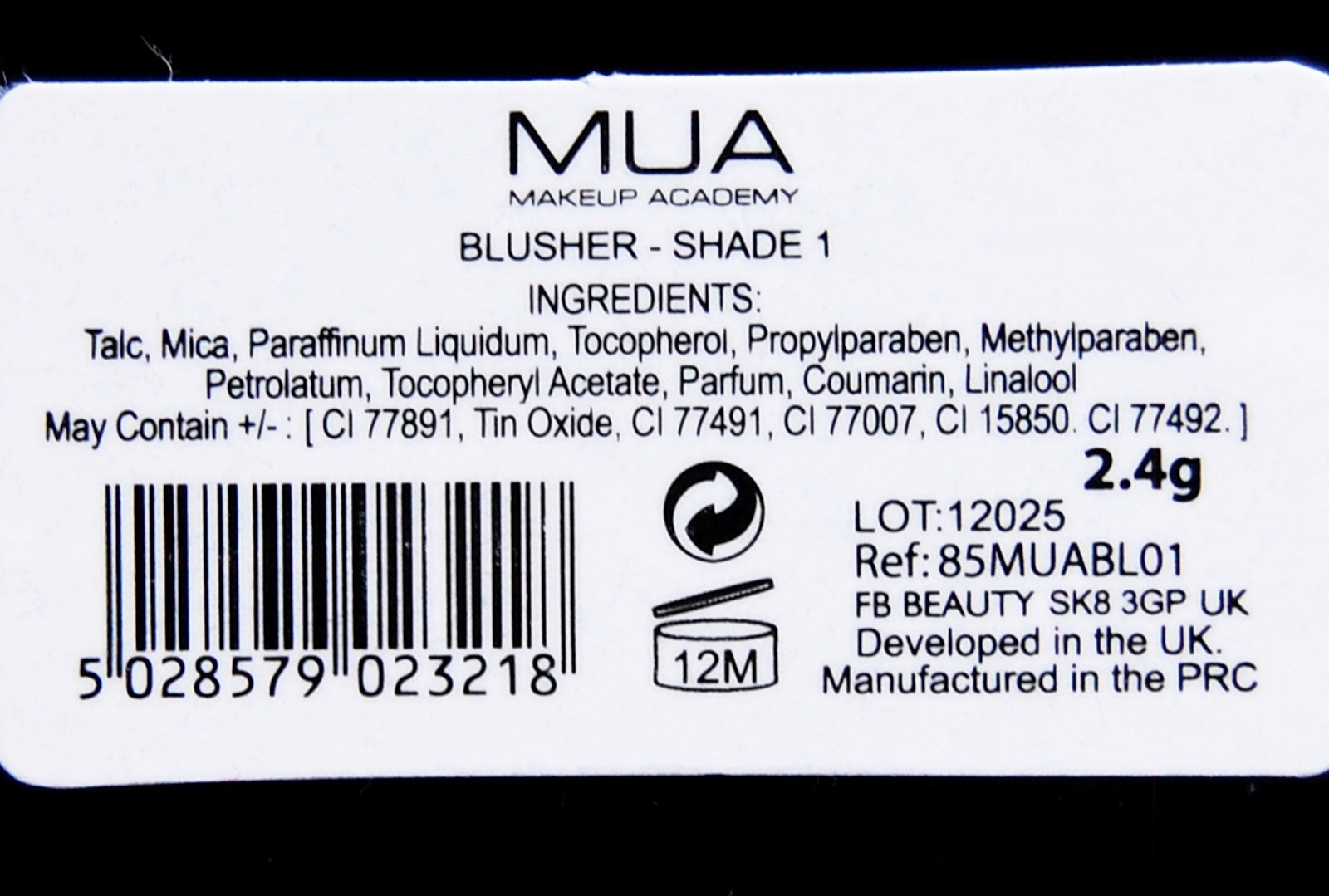 MUA Blusher Shade 1 Ingredients