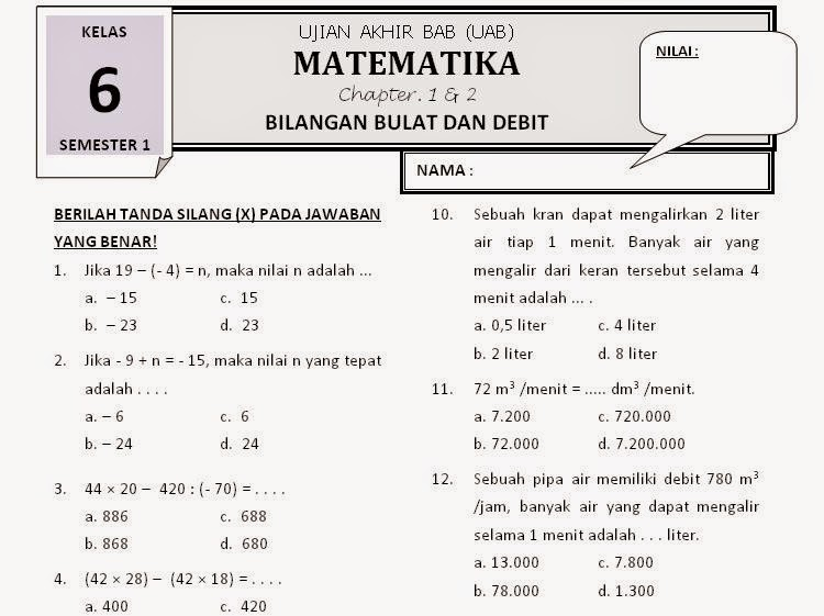 Download Soal Matematika Sd Kelas 6 Semester 2 Aidan