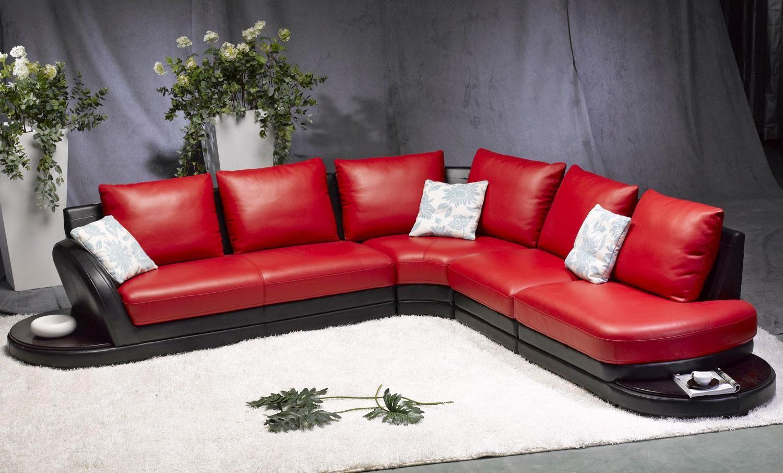 canapé en coupe cuir rouge