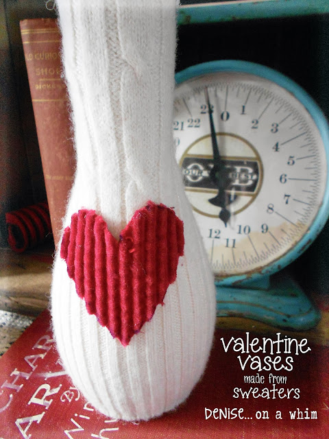 Corduroy Heart Embellishment on Sweater Vase via http://deniseonawhim.blogspot.com