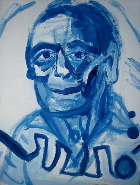 Retrato del pintor catalán Joan Miró, en azul y sobre papel, obra de Emebezeta