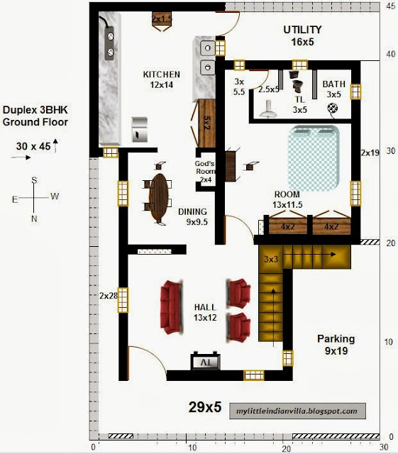My little indian villa 1 duplex house 3bhk 30x45 north facing - Good duplex house plans ...