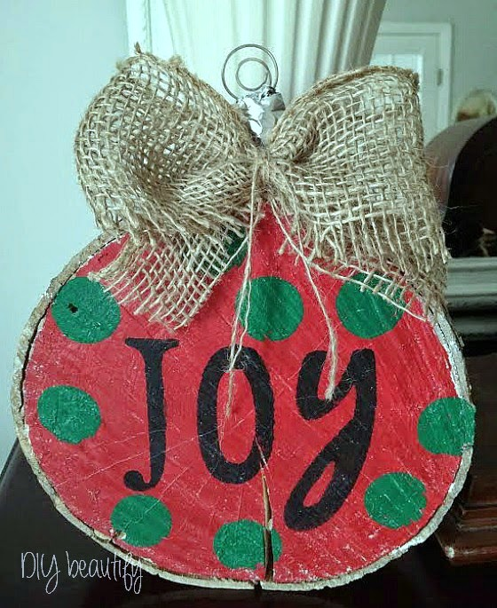 Jumbo Wood Slice Ornament www.diybeautify.com