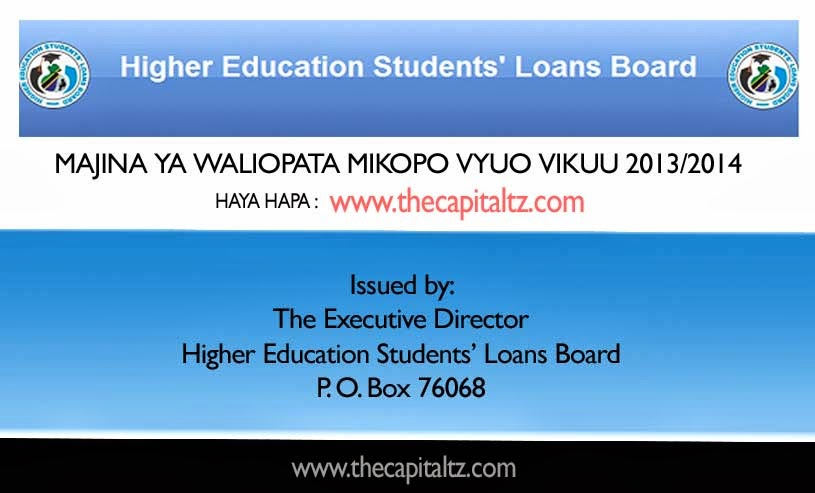 NOTICE TO SUCCESSFUL LOAN APPLICANTS FOR 2013/2014 ACADEMIC YEAR
