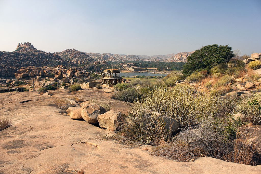 Temples adorn the Hampi landscape