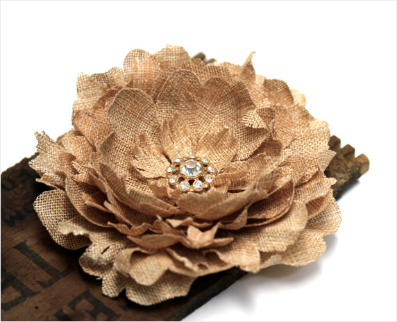 Large Burlap Hair Clip Flower #hair #wedding #flower #rustic