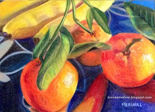 merinal brunda oranges painting colored pencils