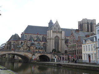 St. Michael's church by the canal in Ghent, Belgium