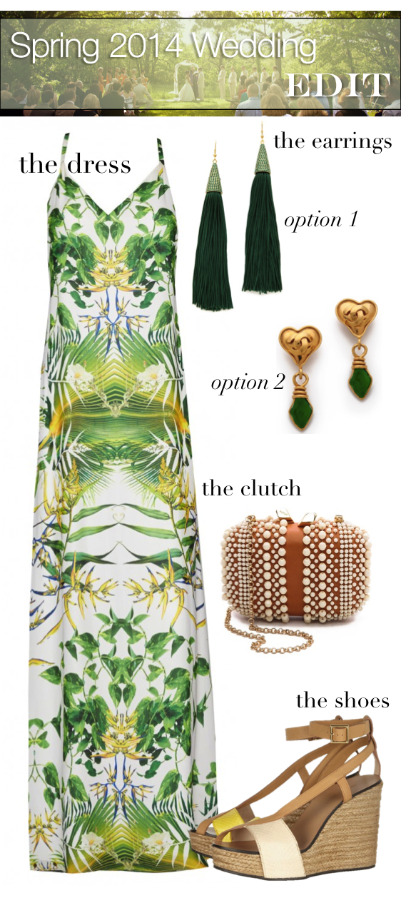 Spring 2014 Wedding Fashion Edit: The dress, the earrings, the shoes and the clutch - Kotur, See by Chloe, Chanel, Eddie Borgo, & Alice + Olivia