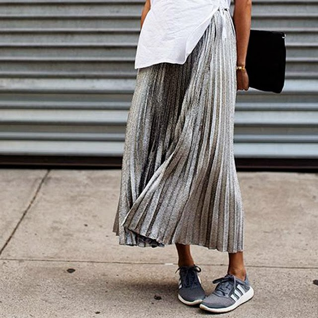 Street style metallic skirt and trainers