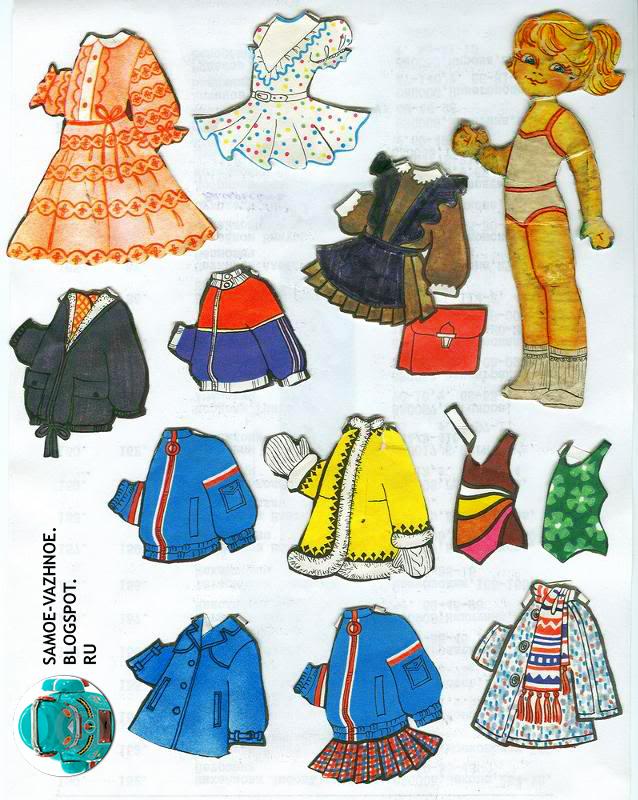 Бумажная кукла девочка хвостик белая майка голубые глаза СССР советская старая из детства
