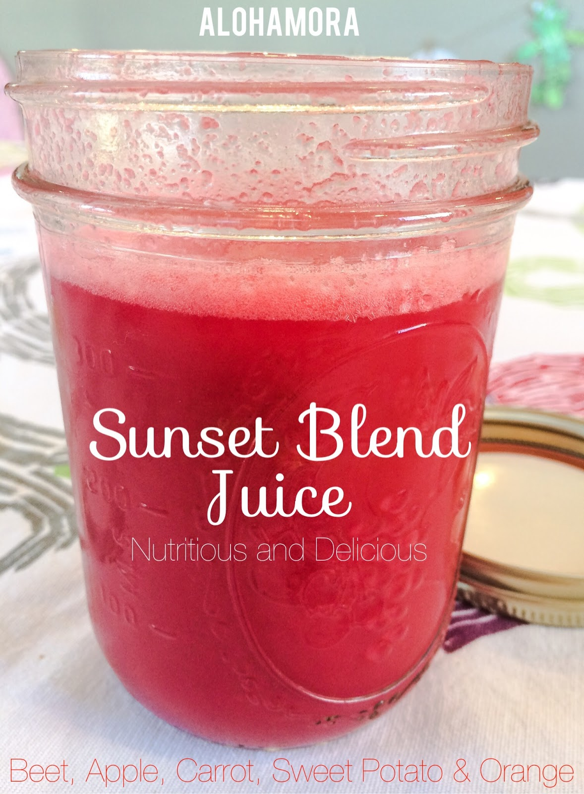 Sunset Blend Juice for those that are into juicing.  This healthy, nutritious, diet friendly and delicious juice is full of beets, carrots, apples, oranges, and sweet potato.  It's the one of the best juice concoctions out there.  Yum! Alohamora Open a Book http://www.alohamoraopenabook.blogspot.com/ gluten free, egg free, nut free, dairy free