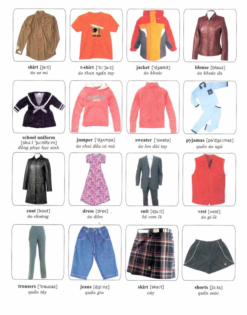 clothes vocabulary in pictures