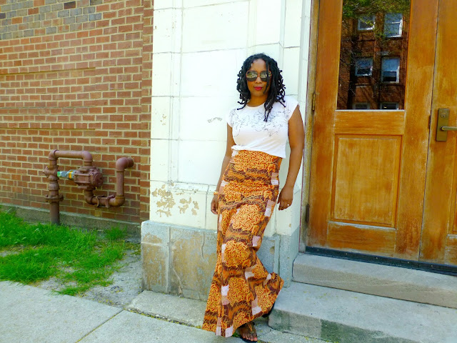 ankara maxi skirt and t-shirt
