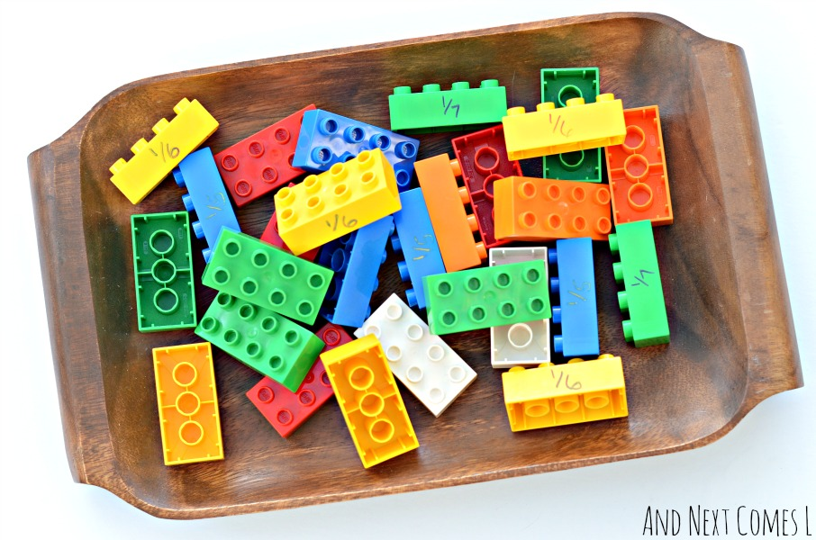 Lego fractions math tray for kids from And Next Comes L