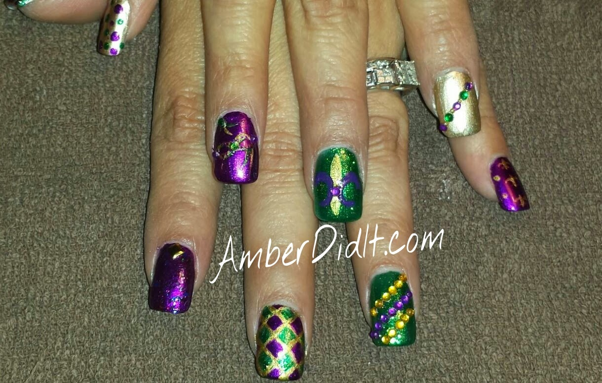 Amber Did It Mardi Gras Nails Extravaganza