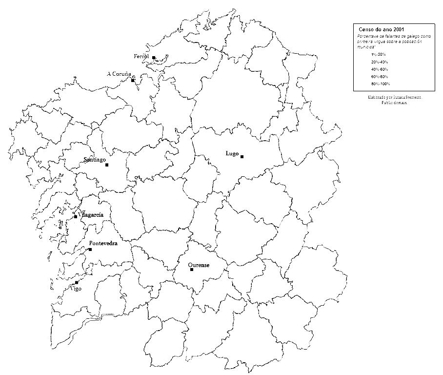 Mapa mudo de Galicia para imprimir