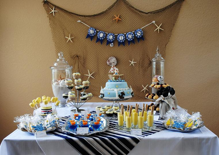 nautical baby shower boy boat sailor ideas decorations cake blue