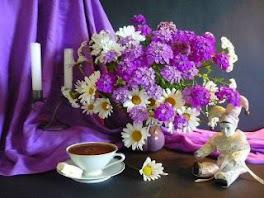 un café et des fleurs quel régal