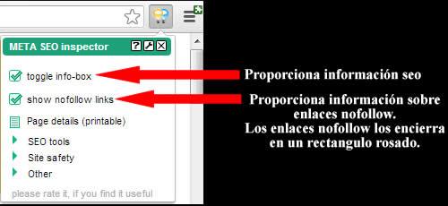 información seo y enlaces nofollow del pugin meta seo inspector