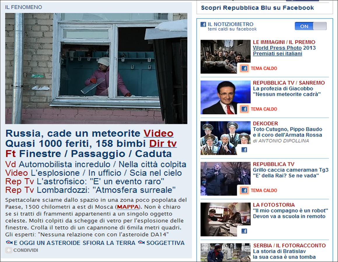 Hubblog storie un 39 impaginazione stellare la home page for Home page repubblica