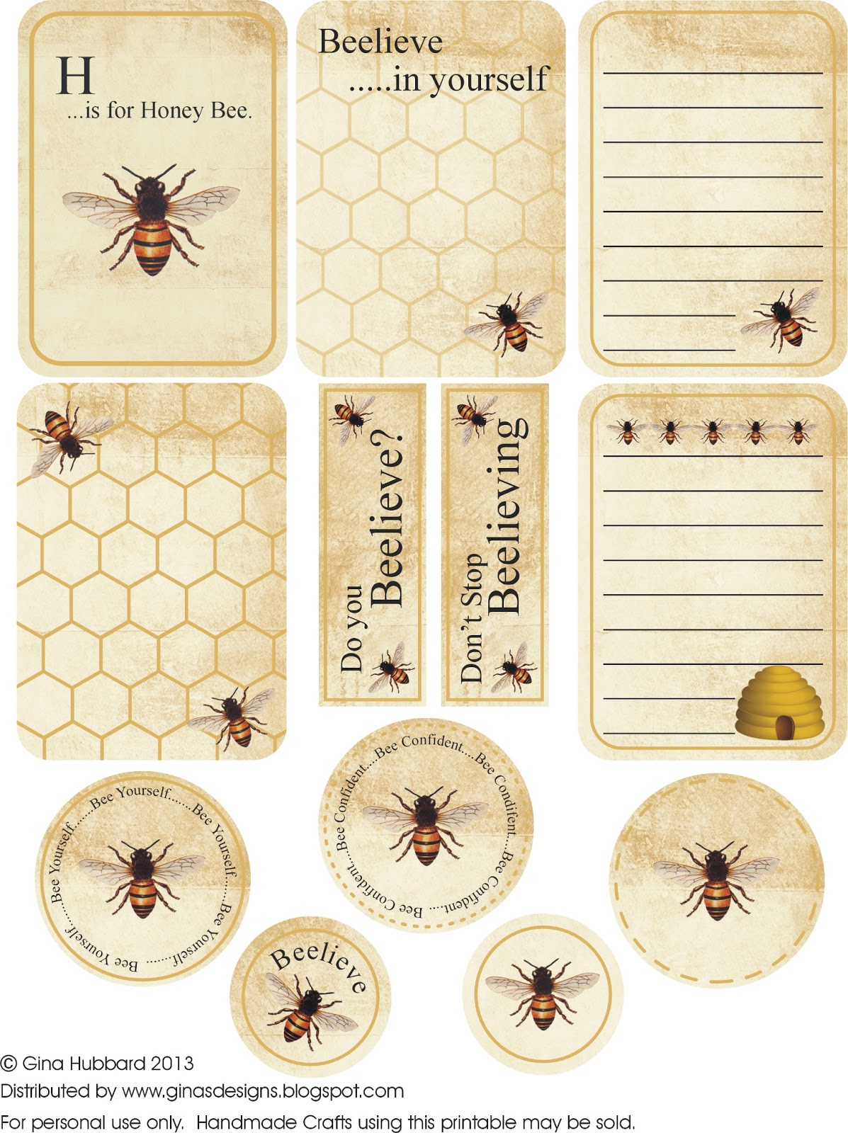 Playful image with bee printable