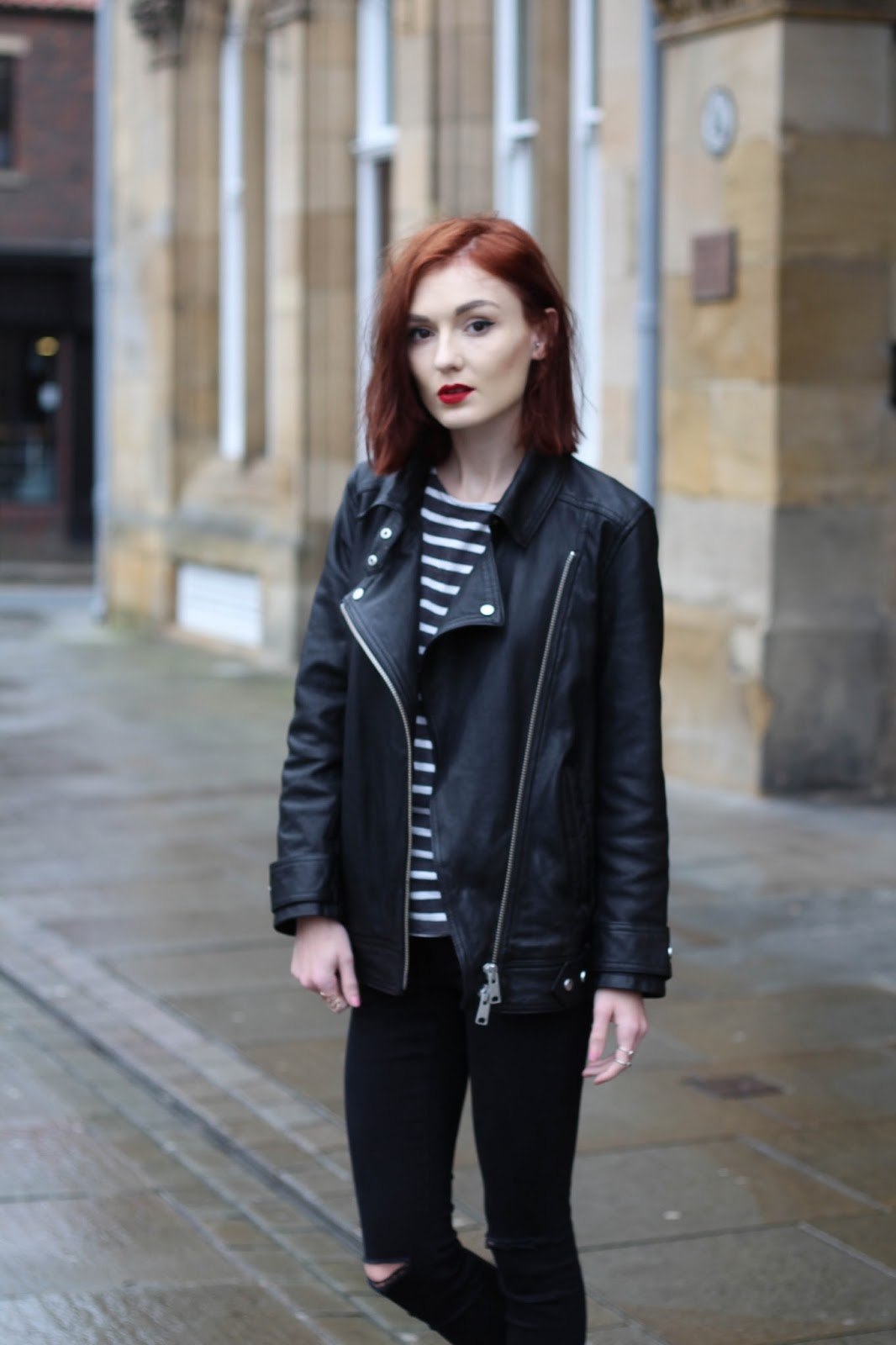 Leather jacket all saints -  Allsaints Black Ryder Leather Jacket C O John Lewis Black Patent Ankle Boots C O New Look Black Ripped Skinny Jeans Asos Similar Striped Top