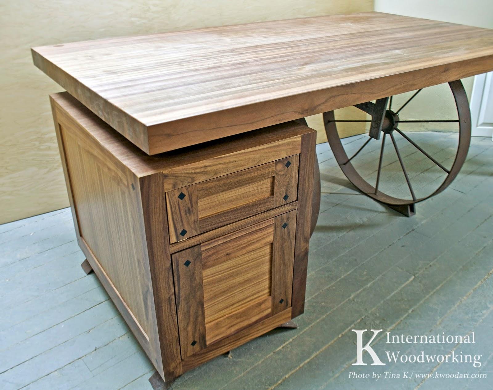 Iron Wheel Office Table K International Woodworking - Wheelbarrow coffee table