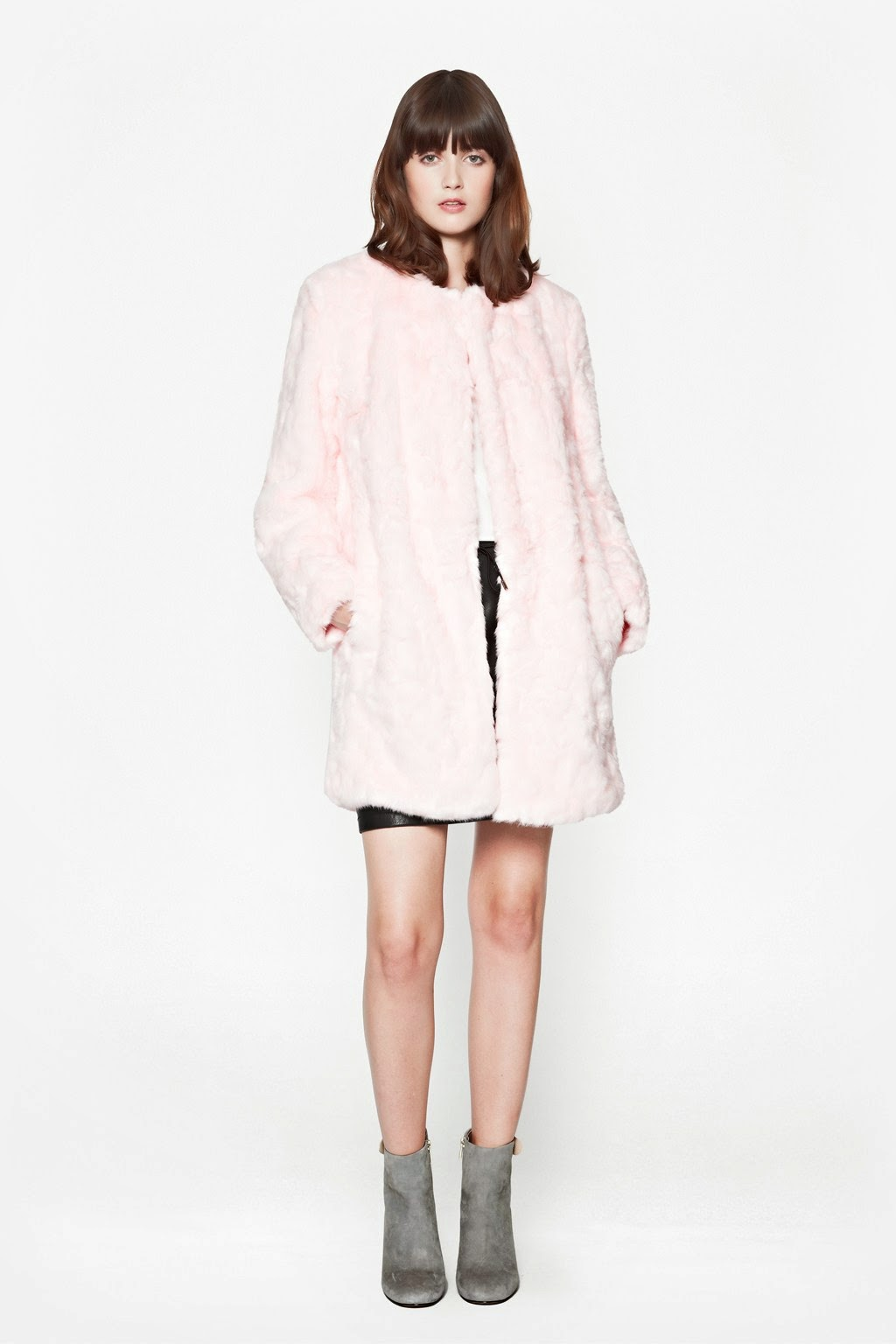 pale pink french connection coat