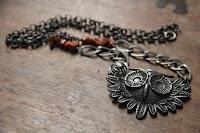 Gunmetal Owl Pendant Necklace by hotGlued