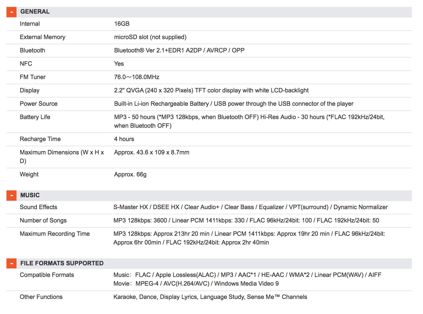 Sony Walkman NWZ-A15 Specification